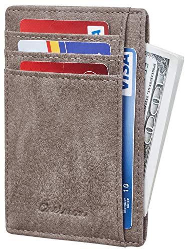 Genuine Leather Credit Card Holder - Chelmon Slim Wallet RFID Front Pocket Wallet Minimalist Secure Thin Credit Card Holder (Vinti Tan Greyish)