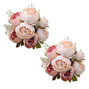 Best Starloop Fake Flowers Vintage Artificial Peony Silk Flowers Wedding Home Decoration,Pack of 2 (Light Pink) 4