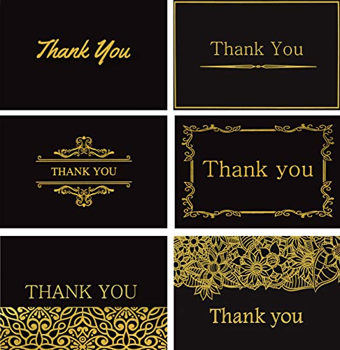 (120 Elegant Thank You Cards in Black with Envelopes and Stickers - Highest Quality 6 Designs Bulk Notes Embossed with Gold Foil Letters for Wedding, Formal, Business, Graduation, Funeral 4x6)