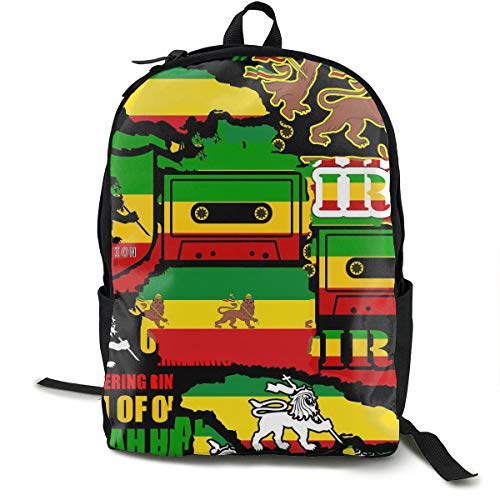 High School Outdoors Bicycle Backpack Daypack Lightweight Polyester Multipurpose Anti-Theft Rucksacks Big Capacity Carry-On Bag, Rastafarian Reggae Rasta Style Camo ()