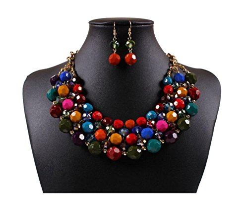 Lanue Multi Strand Beaded Bohemian Statement Necklace & Earrings Set Women Colorful Jewelry (Multicolor)