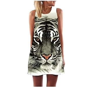 creazy Mujer Fashion Tiger Impreso sin mangas vestido