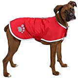 TOPSOSO Dog Winter Coat Waterproof Fleece Lining Warm Blanket for Small to Large Dogs Adjustable Red XXL.