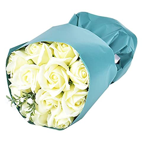 Wuddi Artificial Elegant Soap Real Touch Flower Wedding Bouquets for Mothers' Day Gifts, Party, Anniversary, Decoration of Office and Coffee House Bouquet ,11 PCS - Flowers And Gifts