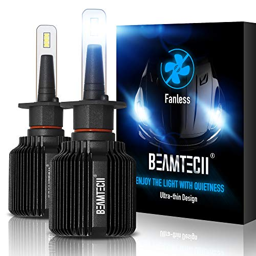 BEAMTECH H1 LED Headlight Bulb,Fanless CSP Y19 Chips 8000 Lumens 6500K Xenon White Extremely Bright Conversion Kit of 2