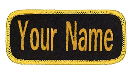 Name patch Uniform or work shirt personalized Identification tape Embroidered Sew On, Hook Fastener or Iron on, Black/Military Gold Arial, SEW ON