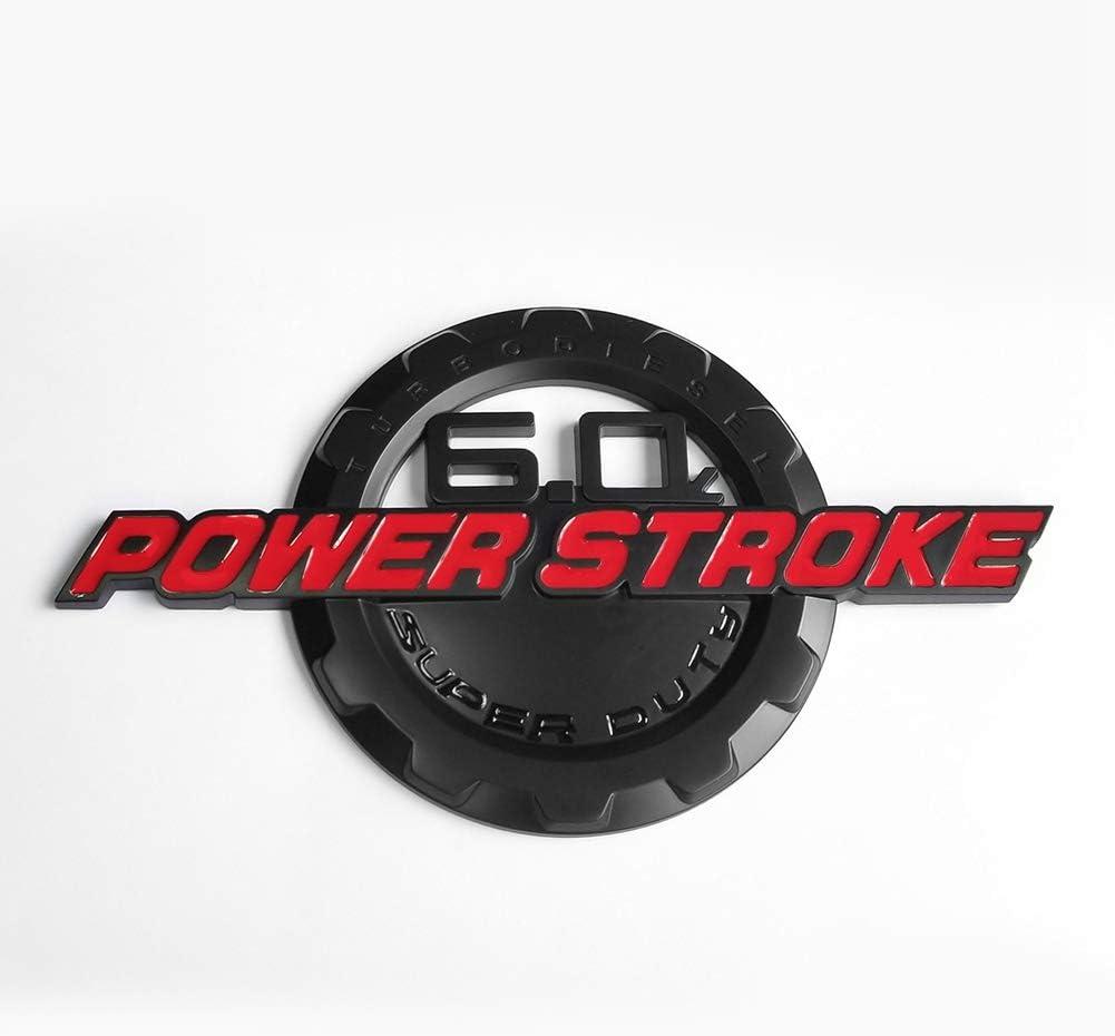 Set OEM 6.0L Powerstroke Superduty Plus F-250 Lariat Super Duty Fender Emblem Badge Powerstroke 3D Logo Replacement for F250 Pickup Red Black