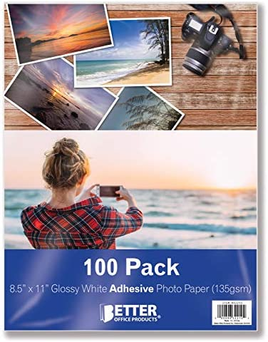 Self-Adhesive Photo Paper, Sticky Photo Paper, Glossy, 8.5 x 11 Inch, 100 Sheets, by means of Better Office Products, 135 gsm, Letter Size, 100 Count Pack