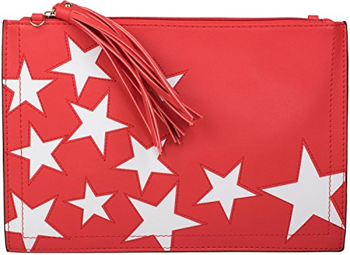 strap pendant wrist ladies star zipper tassel Color upon styleBREAKER design 02012075 Red and shoulder clutch White WwnIqnPv0