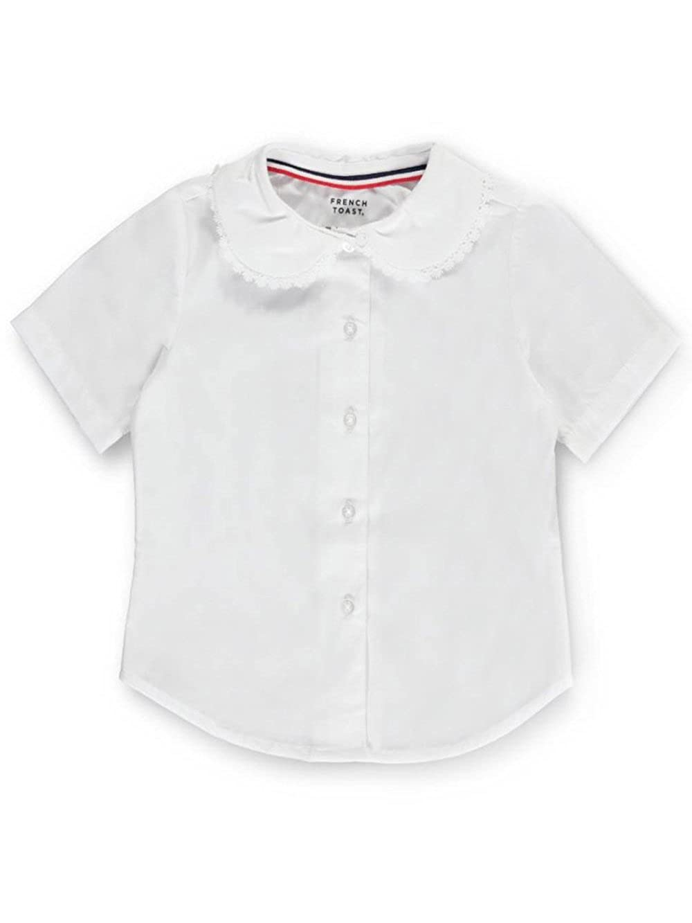 French Toast Big Girls' S/S Peter Pan Lace Trim Blouse