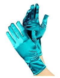NYFASHION101 Solid Color Classy Elegant Formal Wrist Length Satin Gloves, Teal
