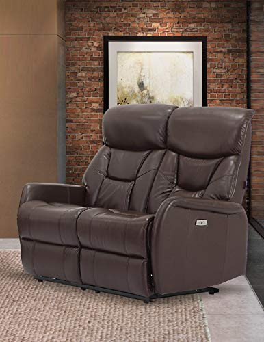 Sunset Trading EL-9097L101P Easy Living Bonn Dual Reclining USB Loveseat Small Angus Brown