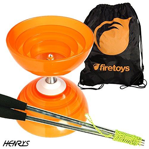 Henry's Beach Free-Hub Bearing Diabolo with Aluminium Diablo Sticks & Firetoys Bag (Orange)