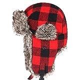 CHUANGLI Winter Womens Mens Thick Trapper Hat Ear Flap Chin Strap Plaid Cap Ski Hat