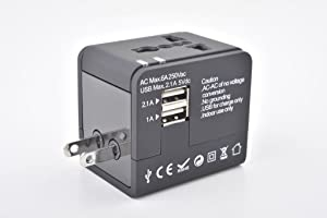 Travel Adapter, Worldwide All in One Universal Travel Adaptor Wall AC Power Plug Adapter Plug Converter with 2 USB Ports for European UK AUS Asia (2USB, Black)