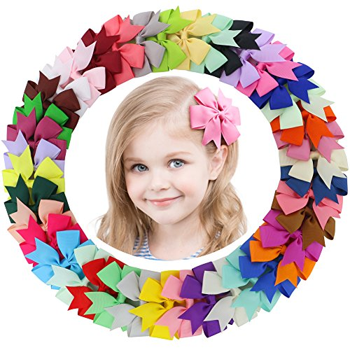 Boutique Accessories (Fortop Baby Girls Boutique Grosgrain Ribbon Pinwheel Hair Bows With Clips For Teens Babies 40Piece)