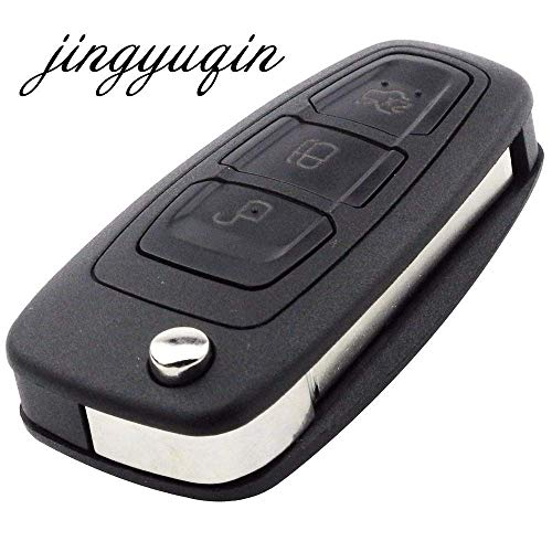 jingyuqin jignyuqin 10pcs/lot Remote Key Shell for Ford Focus Fiesta 2013 3 Buttons Flip Folding Fob Case with HU101 Blade