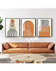 3PCS Simplistic Nordic abstract geometric lines with floral orange living room mural art poster decorative picture canvas print No Frame