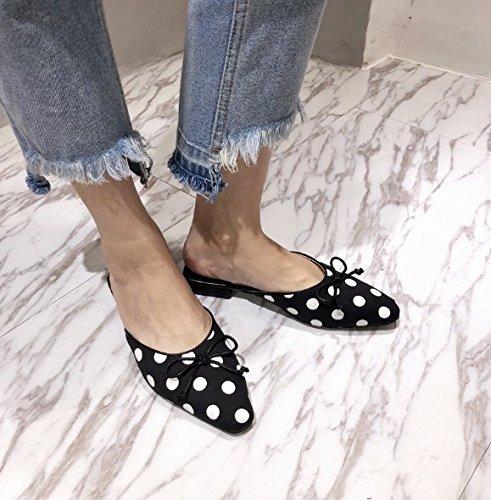 SCLOTHS Sommer Frauen Flip Flops Flache Bow Tie mit Hälfte ziehen Baotou Wohnung mit Tie Casual 04d800