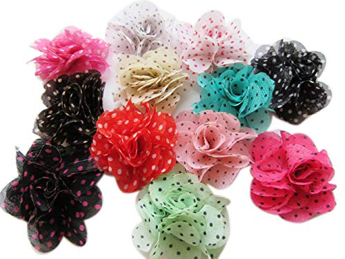 YYCRAFT 30 pcs Chiffon Flower with Dots Prints for Baby Girls Flower Headband Bows DIY Craft,Party Decoration(1.75