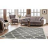 """Ottomanson Paterson Collection Contemporary Moroccan Trellis Design Lattice Area Rug, 7'10"""" X 9'10"""", Grey"""