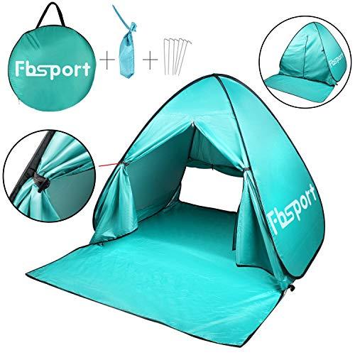 FBSPORT Beach Tent, UV Protection Pop Up Sun Shelter Lightweight Beach Sun Shade Canopy Cabana Beach Tents Fit 2-3 Person (Cyan)