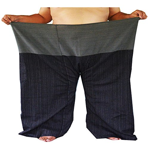 Miss Bangkok Extra Big and Long 2 Tone Thai Fisherman Pants Yoga Trousers Free Size Cotton Gray and Charcoal Waist 77