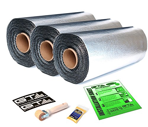 125 sqft 18'' Wide GTmat Pro 50mil Thick Self-Adhesive Aluminum Auto Automotive Car Sound Deadening Road Noise Dampening Insulation Includes: Roller, Degreaser and Instructions by GTMat