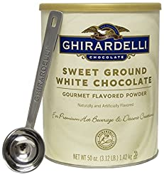 Ghirardelli - Sweet Ground White Chocolate Gourmet Flavored Powder 3.12 lb - with Exclusive 1.5 Tbsp Measuring Spoon