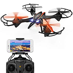 DBPOWER WiFi RC Quadcopter Drone with HD Camera 2.4G 4CH 6 Axis Gyro with Headless Mode and 3D Flips for Beginners, Big Size Black