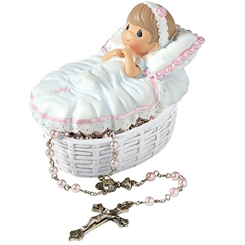 (Precious Moments, Baptized In His Name Resin Box With Rosary, For Girl, 153406)