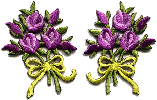 - Lavender roses pair flowers floral bouquet boho retro embroidered appliques iron-ons patches new