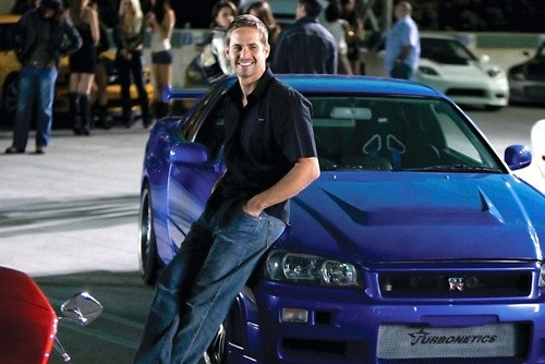 Paul Walker Blue Nissan Skyline Gt-R Fast and Furious Car 24x36 Poster Silverscreen