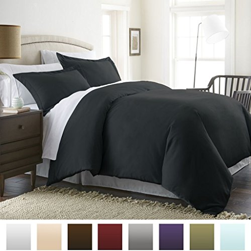 Beckham Hotel Collection Luxury Soft Brushed 2300 Series Microfiber Duvet Cover Set - Hypoallergenic - King/California King - Black