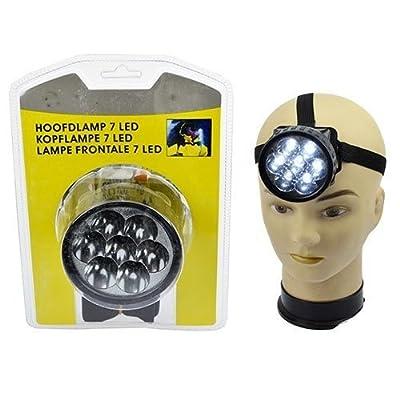 Lot de 6 - Lampe frontale 7 LED `Jumbo` 7cm noire - Qualité COOLMINIPRIX®