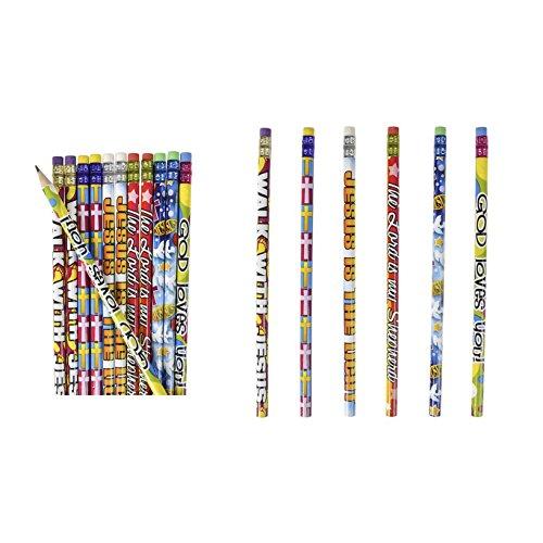 4 Dozen (48) RELIGIOUS Pencils - PENCILS #2 Lead - CLASSROOM Rewards TEACHER VBS Education JESUS GOD Loves Me ()