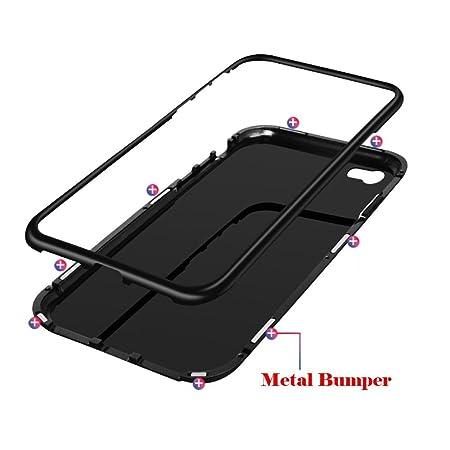 Funda iPhone 6 , E-lush Carcasa iPhone 6S Cristal Templado Aleación de Aluminio de Adsorción magnética Transparente PC Ultra Delgado Back Cover [Compatible ...