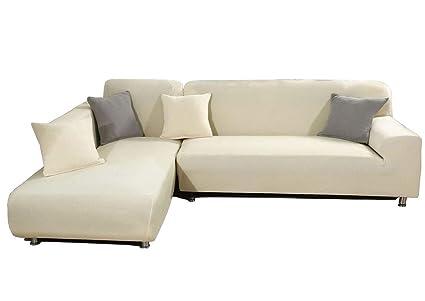 Amazon.com: WOMACO L Shape Sofa Covers Knit Sectional Sofa ...