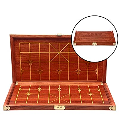 YINYMM Chinese chess rosewood real wood chess leather chessboard,three inch Suitcase