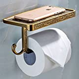 ThinkTop Antique Carving Toilet Roll Paper Holder with Phone Shelf Wall Mounted Bathroom Paper Rack And Hook-Brown