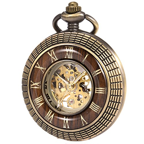 ManChDa Mens imitative wood Luminous Skeleton Mechanical Roman Numerals Pocket Watch With Chain Gift by ManChDa (Image #7)'