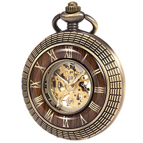 ManChDa Mens imitative wood Luminous Skeleton Mechanical Roman Numerals Pocket Watch With Chain Gift