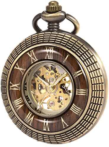 ManChDa Mens imitative wood Luminous Skeleton Mechanical Roman Numerals Pocket Watch With Chain Gift