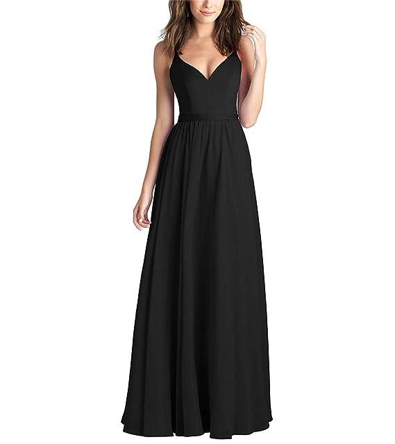 CCBubble Womens A Line Chiffon Bridesmaid Dresses V Neck Long Formal Party Dress CXY795