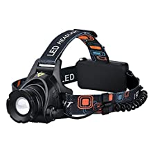 Headlamp, [High Quality] Pictek Flashlight LED Headlamps Super Bright Waterproof 3 Modes Outdoor Rechargeable Sport Flashlight with Cree T6 Chip and Adjustable Elastic Head Strap for Camping Hiking Reading