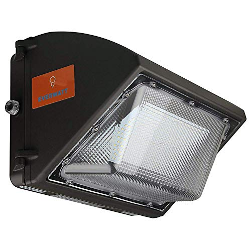 60W LED Wall Pack with Photocell Sensor, 250W-300W HPS/MH Metal-Halide Replacement, 5000K, 7500lm, Commercial Industrial Outdoor Lighting, Waterproof, DLC, UL, 100-277 VAC, 10-Year Warranty by EverWatt