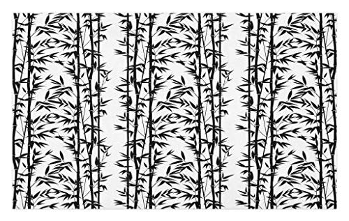 Lunarable Bamboo Doormat, Monochrome Natural Inspirations with Bamboo Tree Growth Exotic Garden Zen Spa Art, Decorative Polyester Floor Mat with Non-Skid Backing, 30 W X 18 L inches, Black White