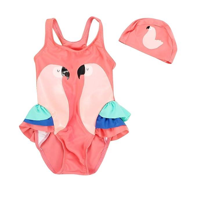 Vine Traje de Baño para Bebés Bañador de una Pieza con Gorro de natación (1-9 Años)