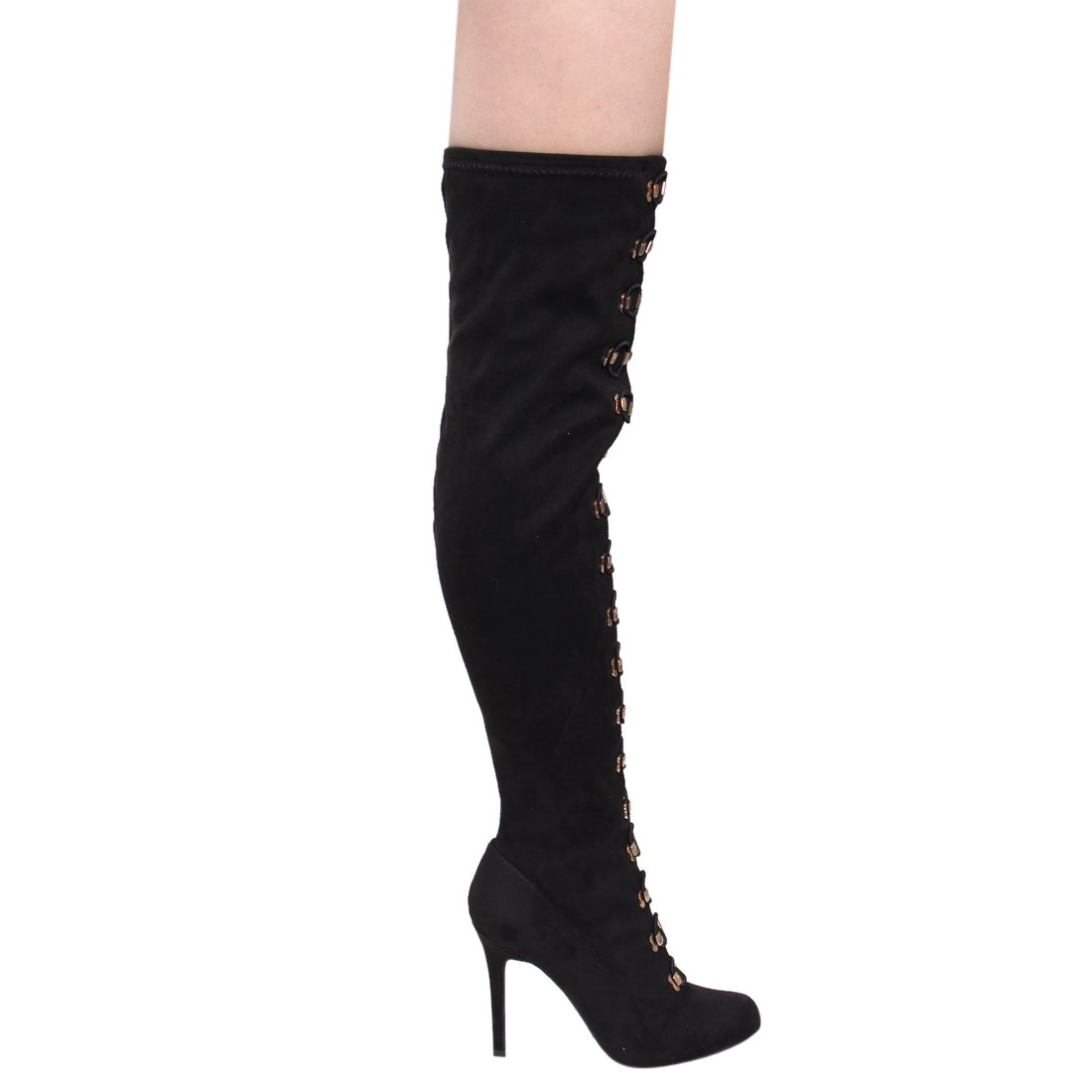 Anne Michelle Military Combat Inspired Lace Up Corset High Heel Over The Knee Boots