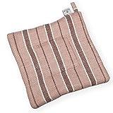 Pot Holder - Linen/Cotton Woven Fabric - 9''x9'' - Light Brown - Striped